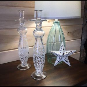 Other - Beautiful 16 inch tall glass candle holders
